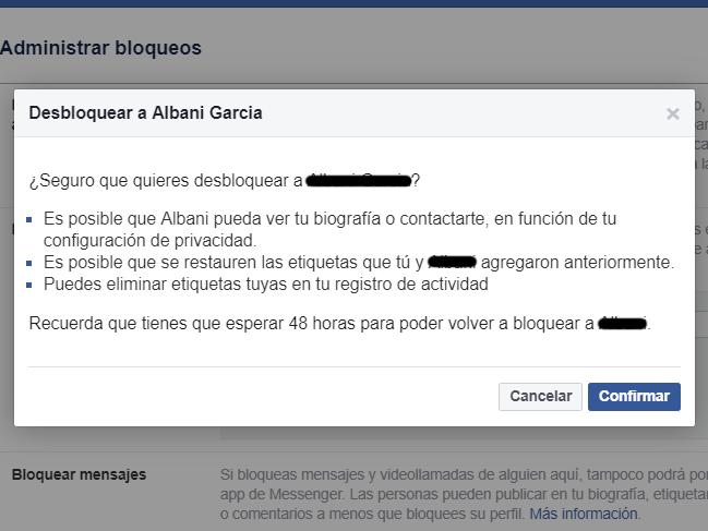 bloquear y desbloquear en Facebook